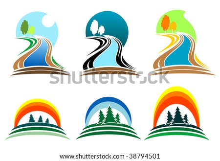 Colorful isolated nature icons, such as emblem or logo template. Forest and river emblems