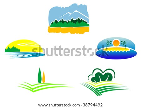 Colorful isolated nature landscape icons, such as emblem or logo template. Field, meadow, river, mountain, lake and beach