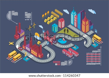 colorful isometric city  vector