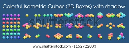 Colorful Isometric Cubes (3D Boxes) with shadow