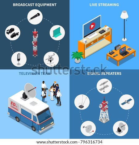 Colorful isometric 2x2 telecommunication icons set with various broadcast equipment television team and electronic devices 3d isolated vector illustration