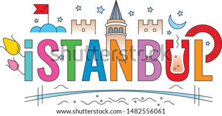 colorful istanbul word. istanbul word concept. istanbul word and symbols