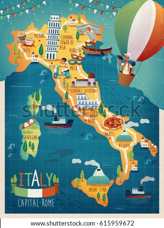 colorful Italy travel map with attraction symbols, Italian words for Venice, Mount Vesuvius, Milan, Naples, sardinia, Rome and French words for Corsica all over the picture