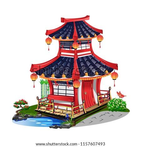 Colorful Japanese house isolated on white background. Vector illustration.