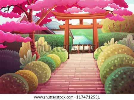 colorful japanese landscape of