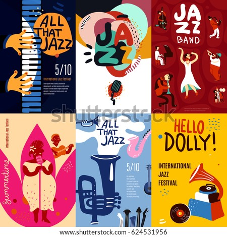 Colorful jazz festival musicians singers and musical instruments poster set flat isolated vector illustration - Shutterstock ID 624531956