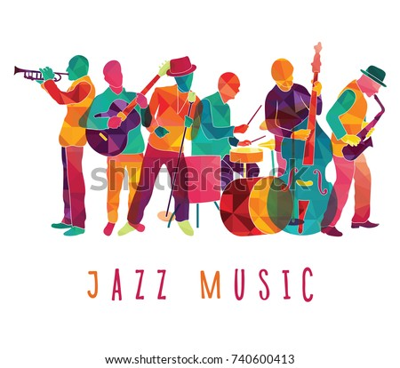 Colorful jazz musicians. Music festival background. Vector illustration