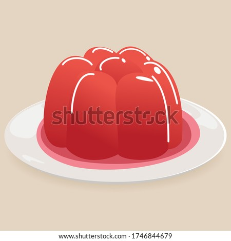 Colorful jelly. Jelly on a plate. Plate with red fruit jelly isolated on white. vector illustration.