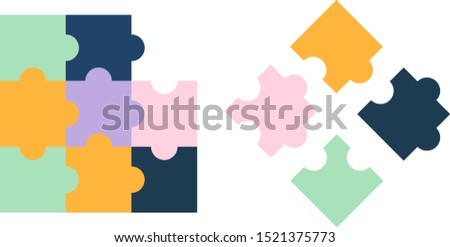 Colorful jigsaw puzzle with one missing piece and the correct piece with three wrong pieces.