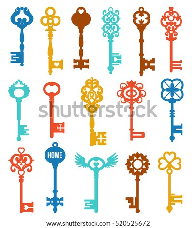 colorful keys set of different...