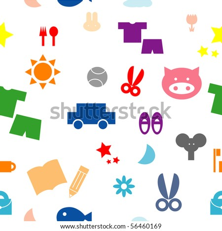 colorful kid items seamless pattern vector eps10