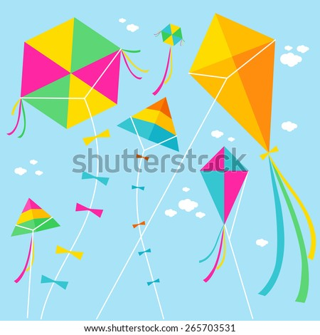 Colorful kites and clouds in the sky. Vector illustration ストックフォト ©