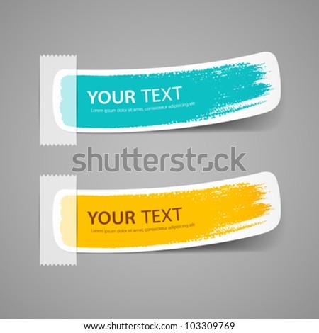 Colorful label brush stroke, vector illustration