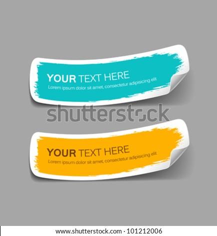 Colorful label paper brush stroke, vector illustration