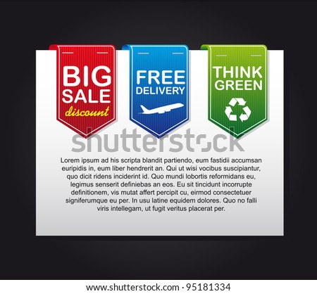 colorful labels over paper, advertising web. vector illustration