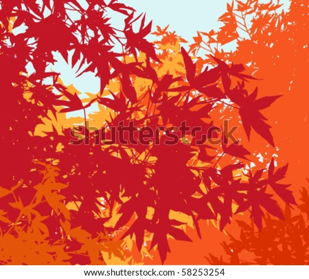 Colorful landscape of autumn foliage - Vector illustration - The different graphics are on separate layers so they can easily be moved or edited individually
