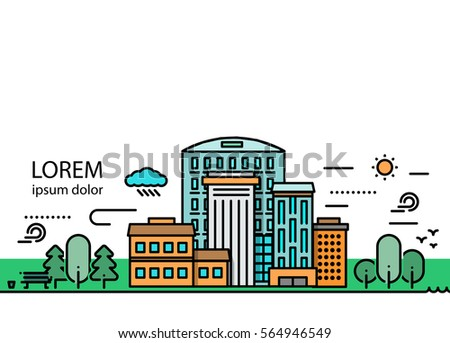 Colorful landscape template with buildings trees bench birds sun and cloud in trendy linear style vector illustration