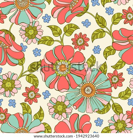 Colorful Large Scale Hand-Drawn Floral Vector Seamless Pattern. Retro 70s Style Nostalgic Fashion Textile Bold Background. Summer Resort Print. Daisies. Flower Power Stockfoto ©