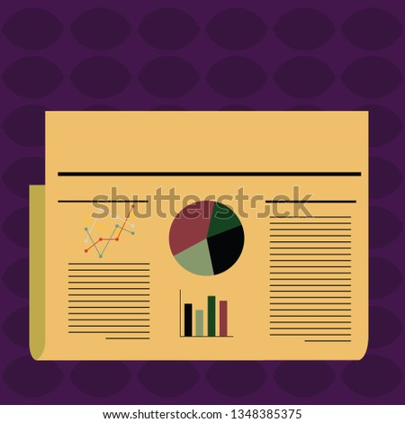 Colorful Layout Design Plan of Text Lines, Bar, Linear and Pie Chart Diagram for Account Status Newsletter. Creative Background Idea for Financial Presentation and Economic Report.