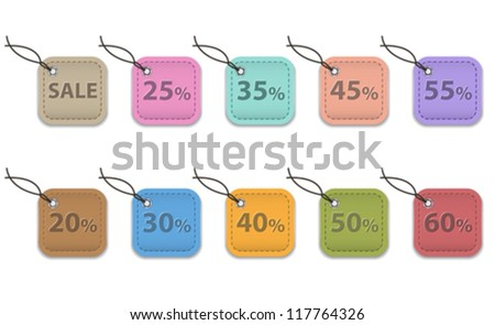 Colorful leather labels for shopping. Sale tags. Vector illustration