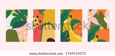 Colorful leaves, flowers and fruits card templates set. Exotic design for web banner, brochure, cover, flyer, invitation, placad, poster