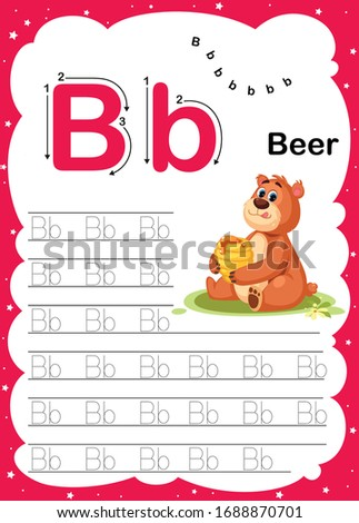 Colorful letter B Uppercase and Lowercase alphabet A-Z, Tracing and writing daily printable A4 practice worksheet with cute cartoon animals - vector illustration exercise for kids Photo stock ©
