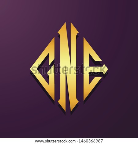 Colorful letter initial CNE logo collection