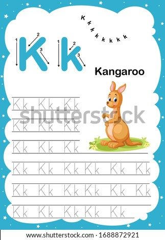 Colorful letter K Uppercase and Lowercase alphabet A-Z, Tracing and writing daily printable A4 practice worksheet with cute cartoon animals - vector illustration exercise for kids Photo stock ©