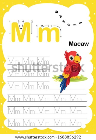 Colorful letter m Uppercase and Lowercase alphabet A-Z, Tracing and writing daily printable A4 practice worksheet with cute cartoon animals - vector illustration exercise for kids Photo stock ©