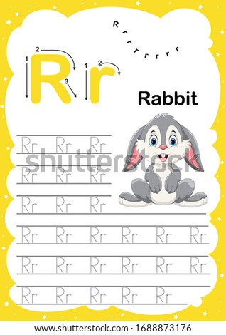 Colorful letter R Uppercase and Lowercase alphabet A-Z, Tracing and writing daily printable A4 practice worksheet with cute cartoon animals - vector illustration exercise for kids Photo stock ©