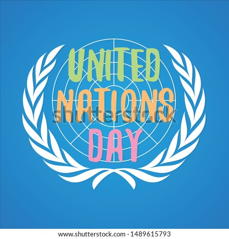 Colorful letter United Nation Day vector in flat style. United nation day text banner. Vector illustration EPS.8 EPS.10