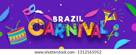 Colorful lettering of Brazil Carnival with party elements decorated on purple background. Header or banner design.