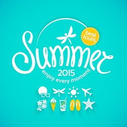 Colorful lettering summer and white icons set on turquoise background for promotions of the best tour