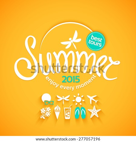 Colorful lettering summer and white icons set on yellow background for promotions of the best tour