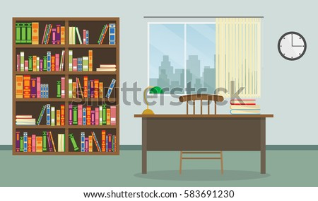 Colorful Library Vector set Illustration interior background