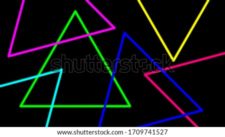 colorful light beam with triangle line shape for background, night light effect on black color, geometric triangle LED light be bright, neon light beam colorful triangle shape for wallpaper graphic stock photo