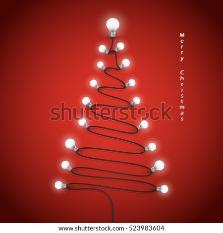 Stock Photo Colorful light bulbs and Christmas tree symbol .Merry christmas abstract background.Design for Christmas postcard, Merry Christmas icon,logo or Merry Christmas background.Vector illustration