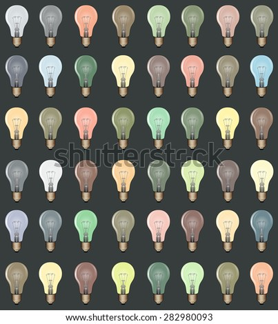 Colorful Lightbulbs Pattern/Background Vector