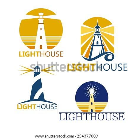 Colorful lighthouse symbols set isolated on white background