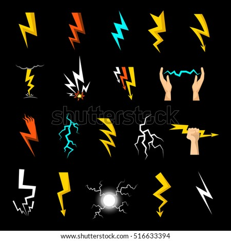 Colorful lightnings of different shape flat icons set isolated on black background vector illustration
