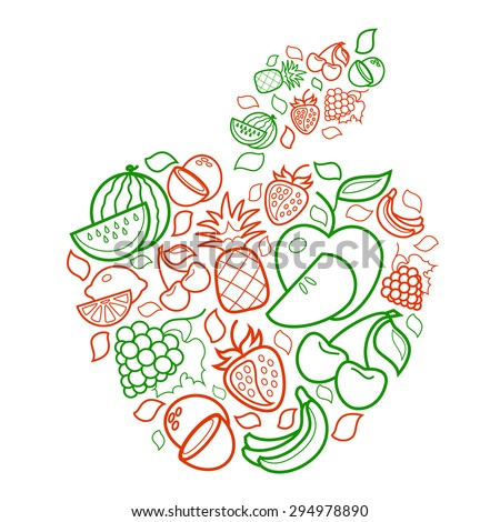 colorful line art fruit apple
