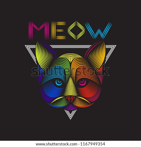 Colorful line art illustration of a cat's head vector. Editable element design for t shirt, poster, etc.