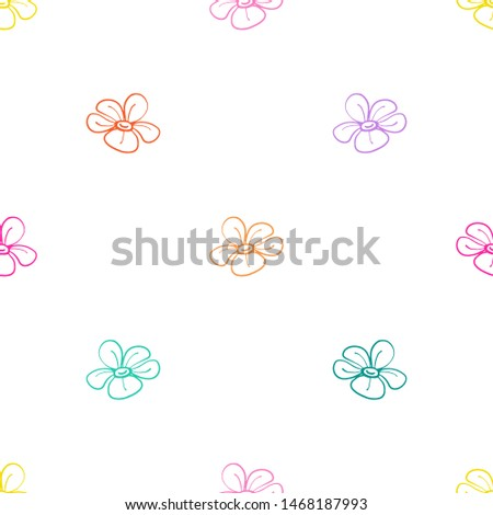 Colorful line seamless pattern with simple flower. Simple doodle hand drawn art. Vector linear design on white background.