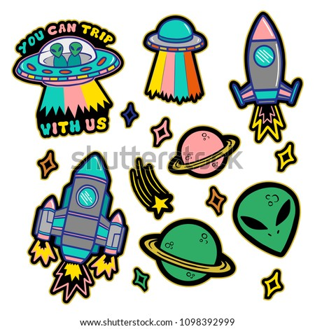 Colorful line set icons with patches stickers with stars alien UFO spaceships planets. Modern vector style mascot logo trendy print on kids clothes t shirt sweatshirt poster.