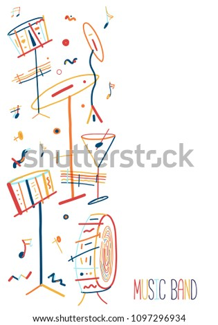 Colorful lineart Jazz Music poster with drum instruments on background.