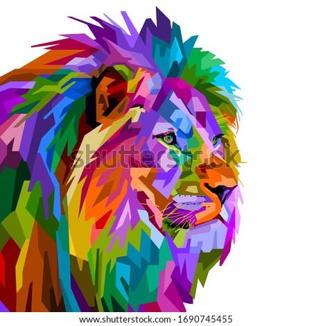 colorful lion head on pop art