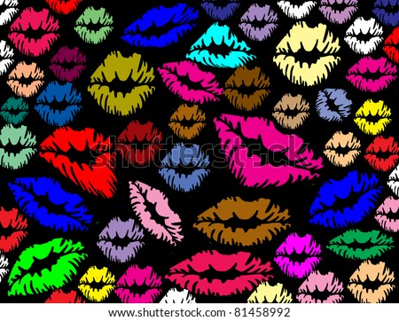 Colorful lips print on black texture background, vector illustration