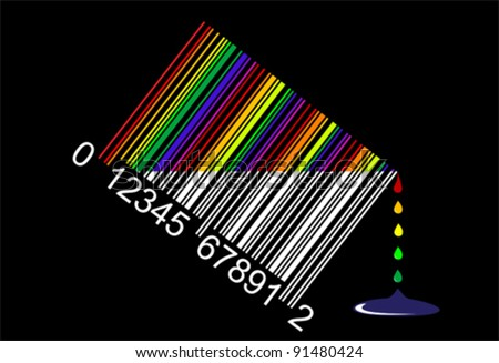 colorful liquid bar code, perfect for sale, vector