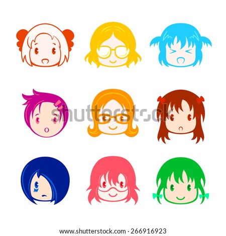 colorful little girl head icons