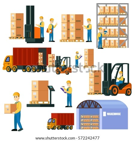 Colorful logistic warehouse set with storage workers in different situations truck and forklift isolated vector illustration